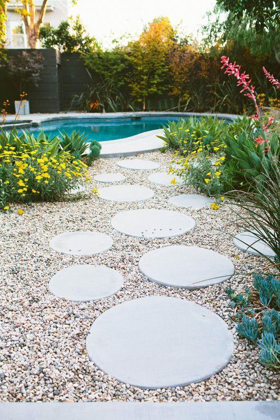 caminhos jardim concreto circulos