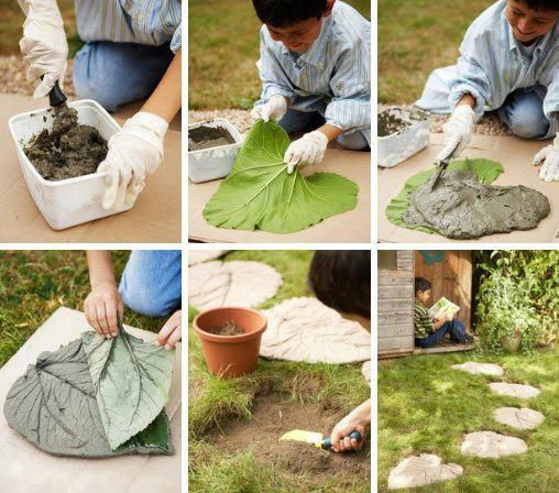 caminhos jardim concreto folhas