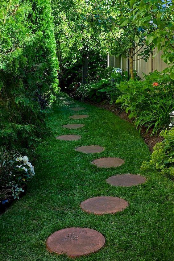 caminhos jardim madeira redonda