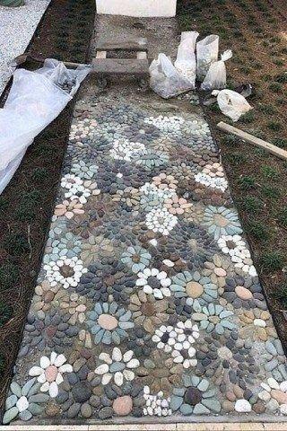 caminhos jardim pedra flor