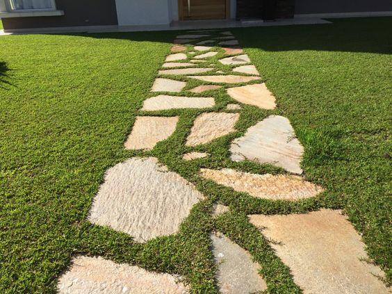 caminhos jardim pedra grama