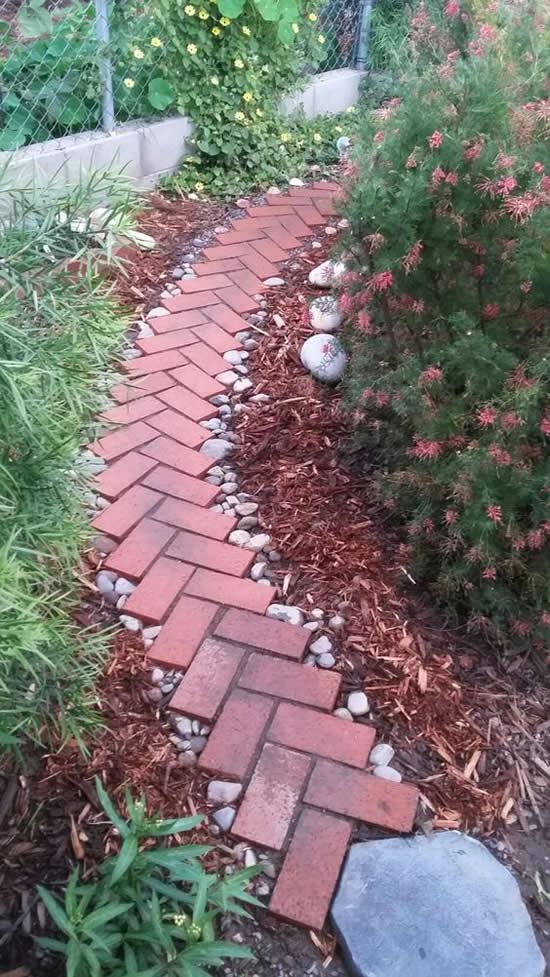 caminhos jardim tijolo pedra