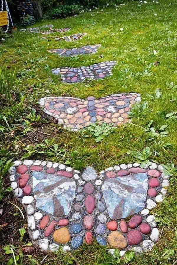 decoracao jardim borboleta calcada
