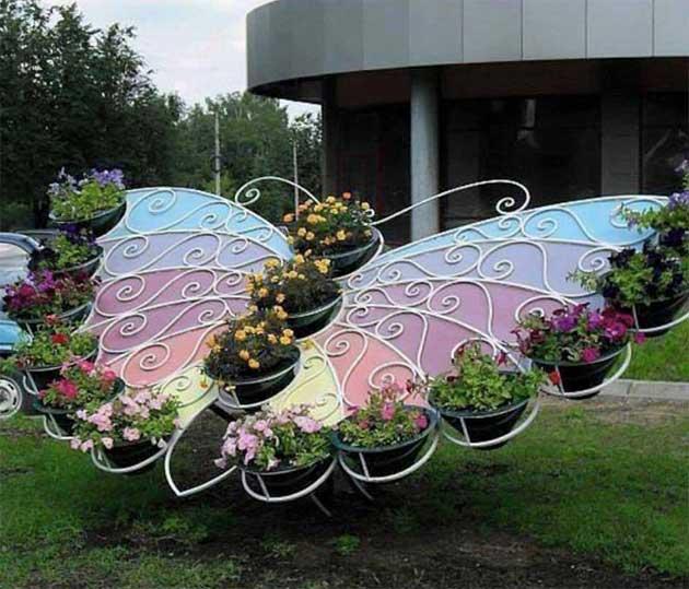 decoracao jardim borboleta floreira