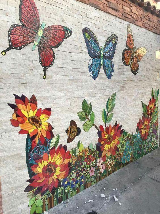 decoracao jardim borboleta mural