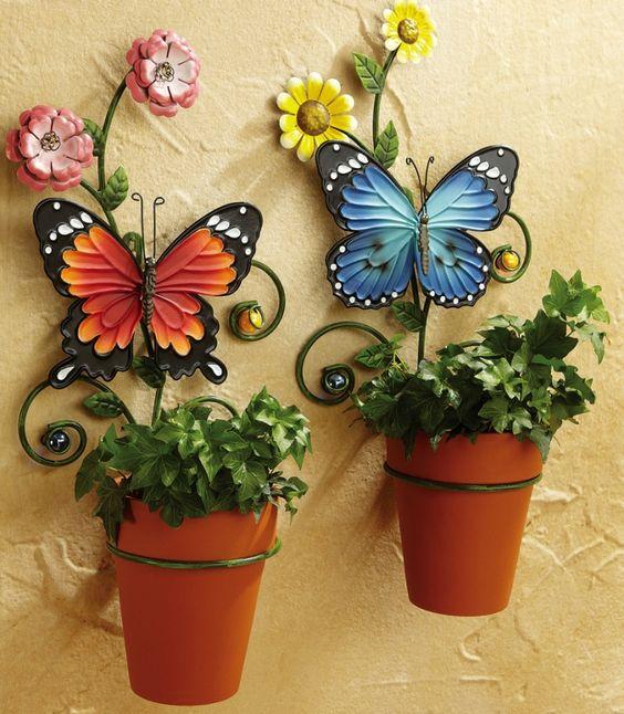 decoracao jardim borboleta vasos