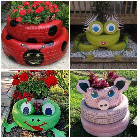 decoracao jardim pneus animais