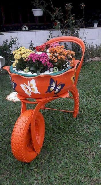 decoracao jardim pneus carrinho