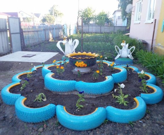decoracao jardim pneus centro