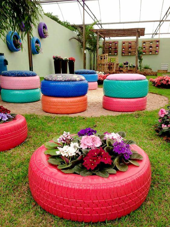 decoracao jardim pneus colorida