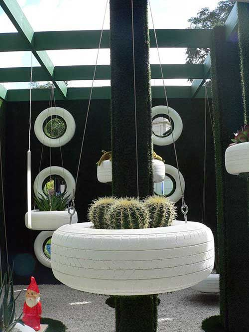 decoracao jardim pneus jardim suspenso