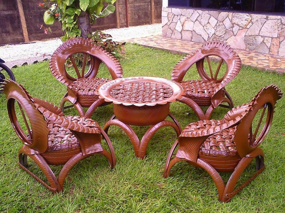 decoracao jardim pneus mobiliario