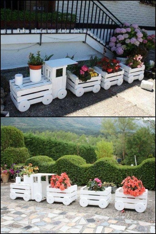 ideias criativas plantar caixotes madeira