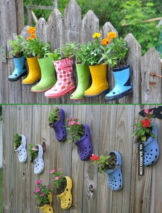 ideias criativas plantar sapatos