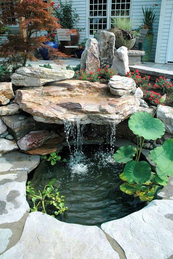 lago jardim cascata pedras