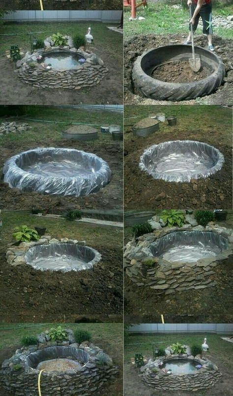 lago jardim diy pneu