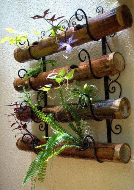 suporte plantas bambu