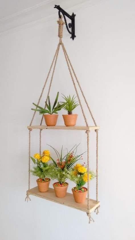 suporte plantas madeira suspenso